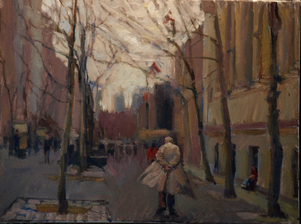Windy Day -- Fifth Avenue, Oil on Canvas, 20 x 24 Inches, by Susan Grisell, $650