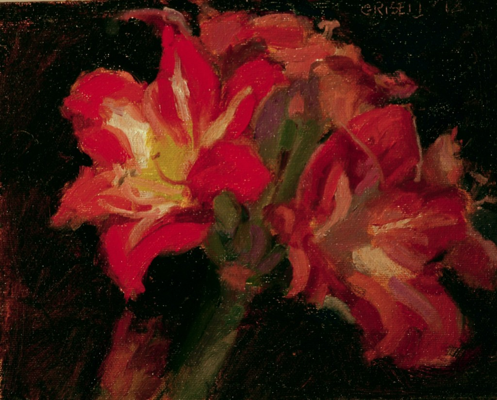 Winter Blooms, Oil on Canvas on Panel, 8 x 10 Inches, by Susan Grisell, $150