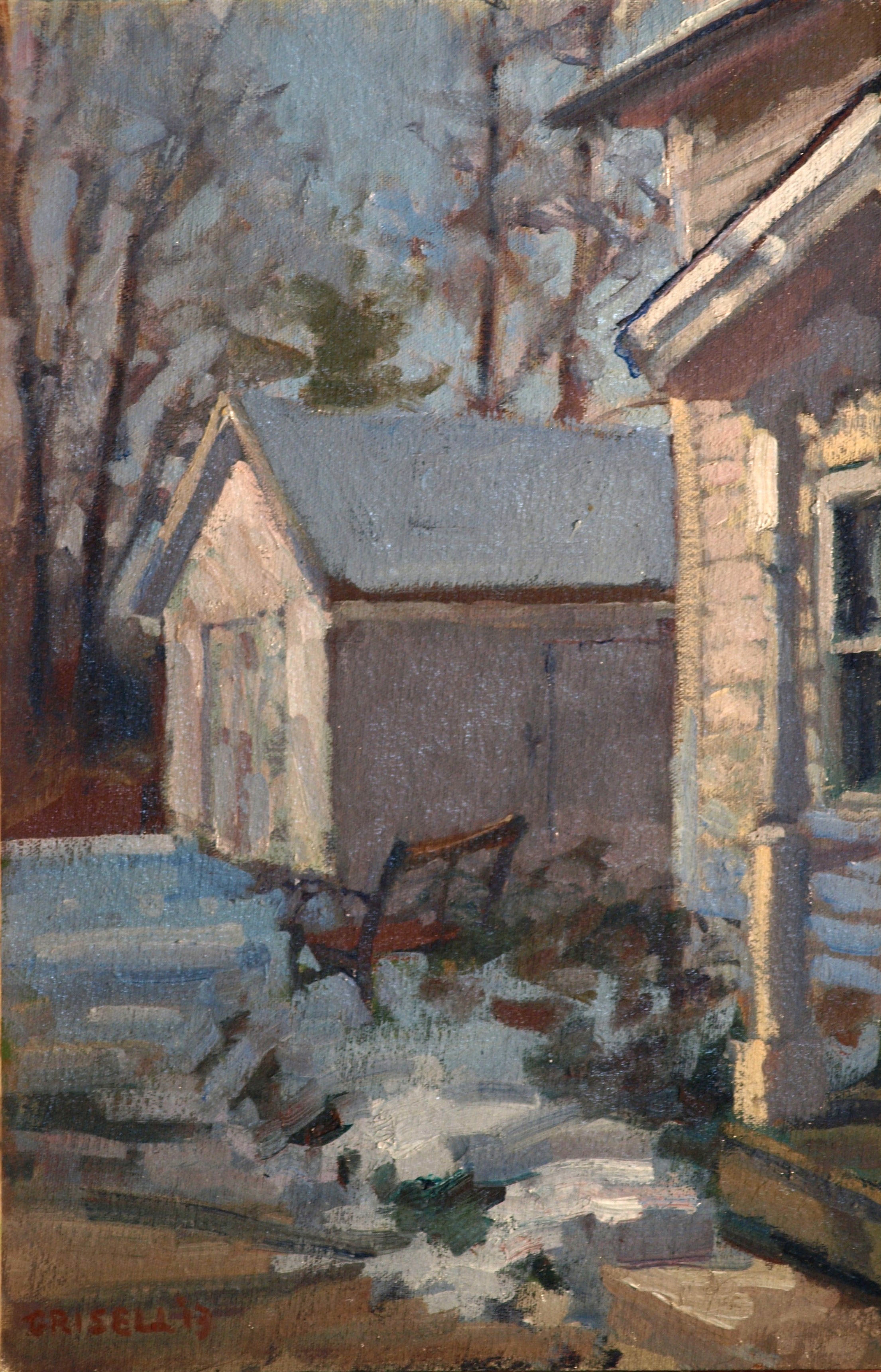 Winter Dooryard, Oil on Canvas on Panel, 18 x 12 Inches, by Susan Grisell, $275