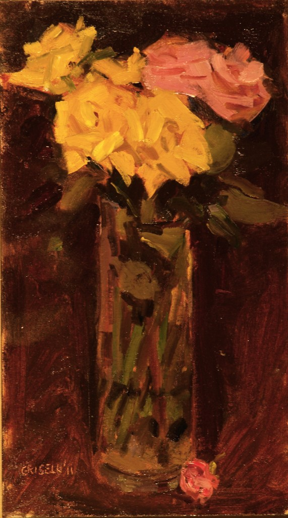 Winter Roses, Oil on Canvas on Panel, 16 x 9 Inches, by Susan Grisell, $250