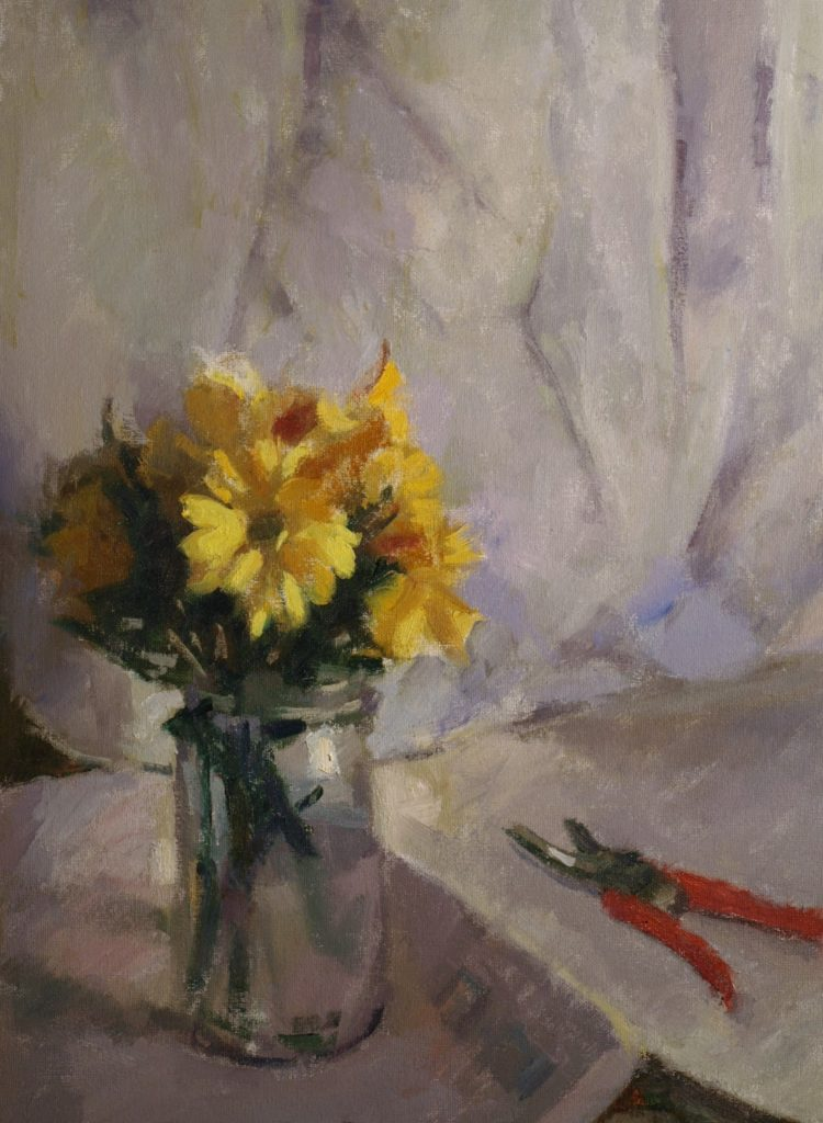 Yellow Daisies with White Background, Oil on Canvas, 24 x 18 Inches, by Susan Grisell, $750