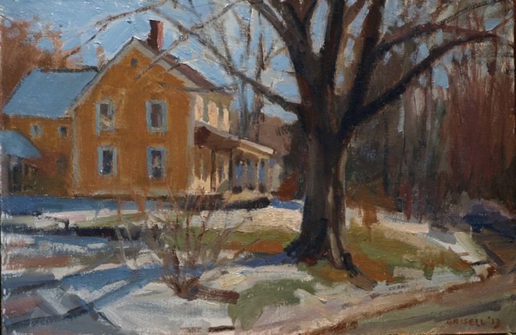 Yellow House -- Winter, Oil on Canvas on Panel, 12 x 18 Inches, by Susan Grisell, $275