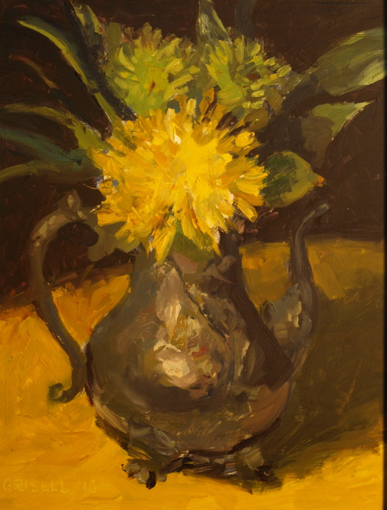 Yellow Mum and Teapot, Oil on Panel, 14 x 11 Inches, by Susan Grisell, $275