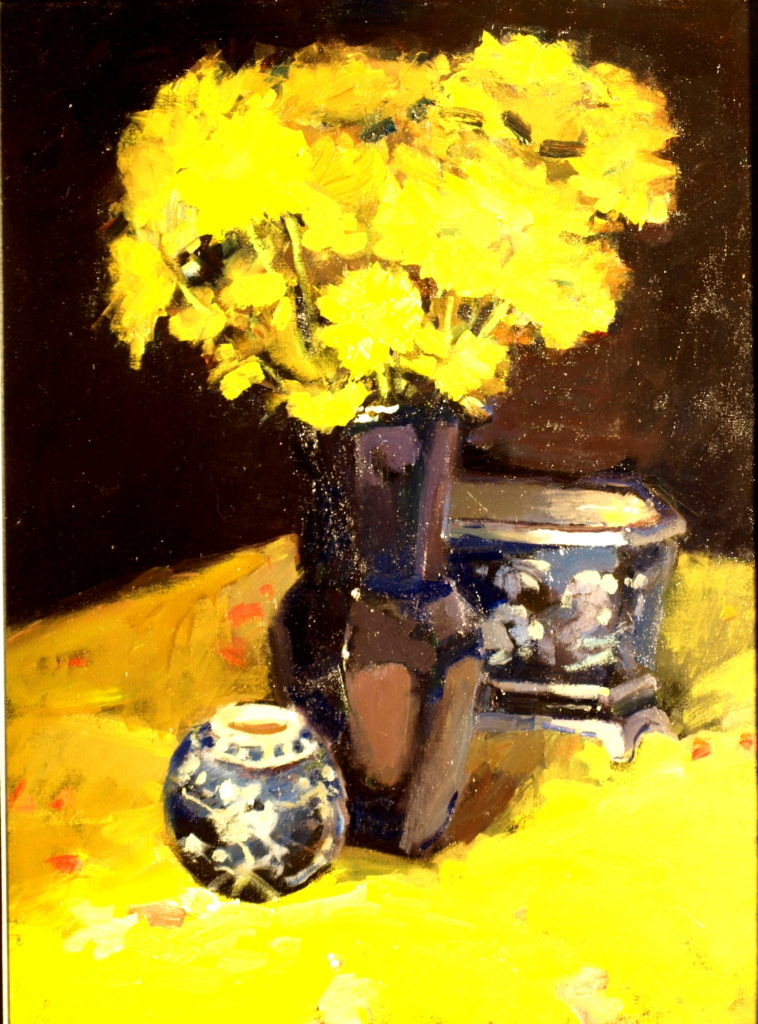 Yellow Mums, Oil on Canvas, 24 x 18 Inches, by Susan Grisell, $750