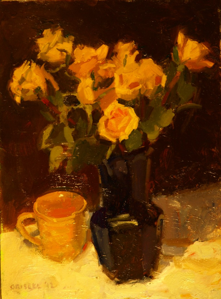 Yellow Roses, Oil on Panel, 16 x 12 Inches, by Susan Grisell, $275