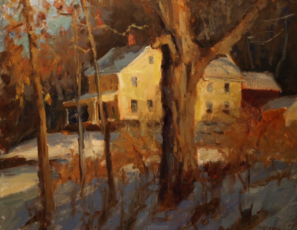 Yellow House with Maple, Oil on Canvas, 16 x 20 Inches, by Susan Grisell, $750