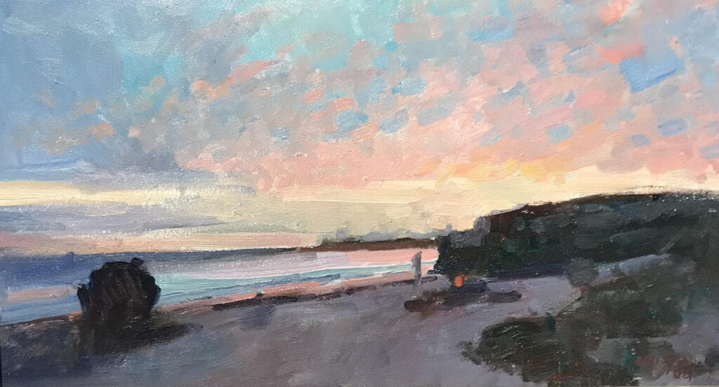 Santa Cruz Sunset, Oil on Panel, 9 x 16 Inches, by Susan Grisell, $300
