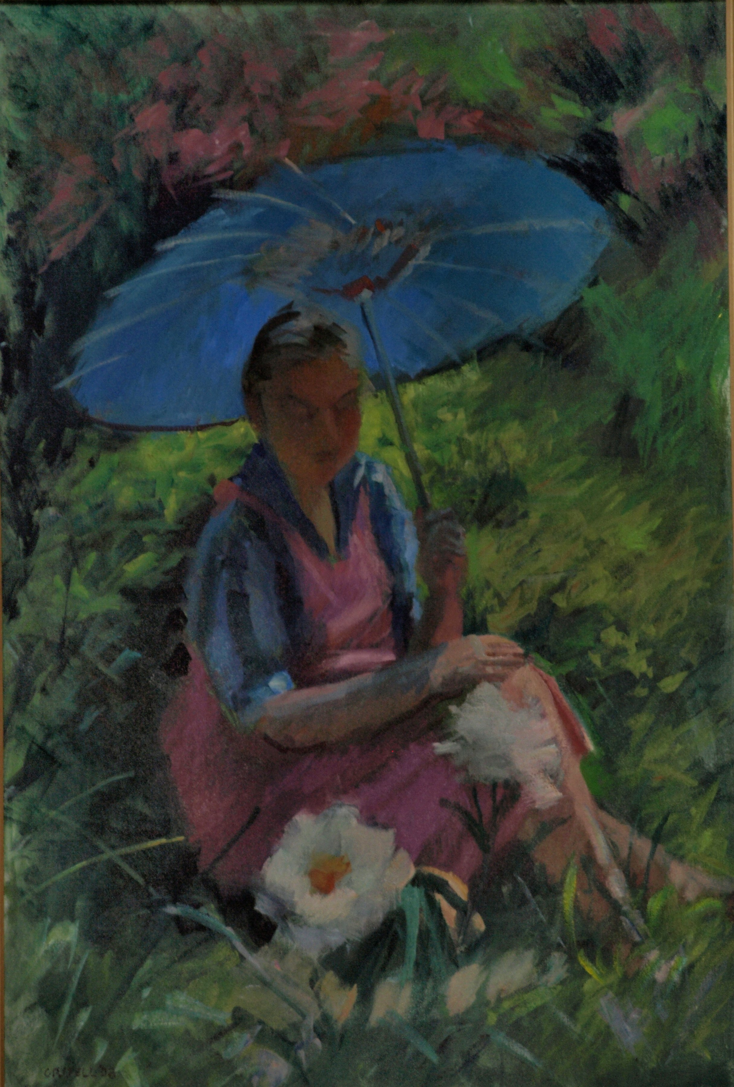 Seated Figure with Parasol, Oil on Canvas, 36 x 24 Inches, by Susan Grisell, $1200