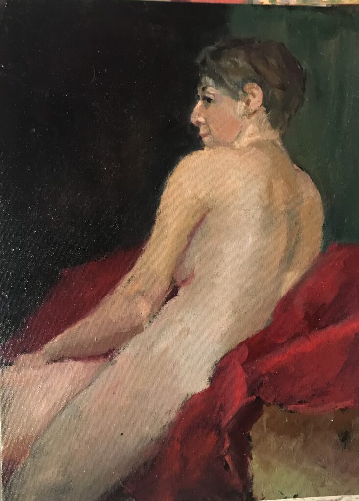 """""""Seated Nude"""" Oil on Canvas on Panel, 16 x 12 Inches by Susan Grisell $325"""