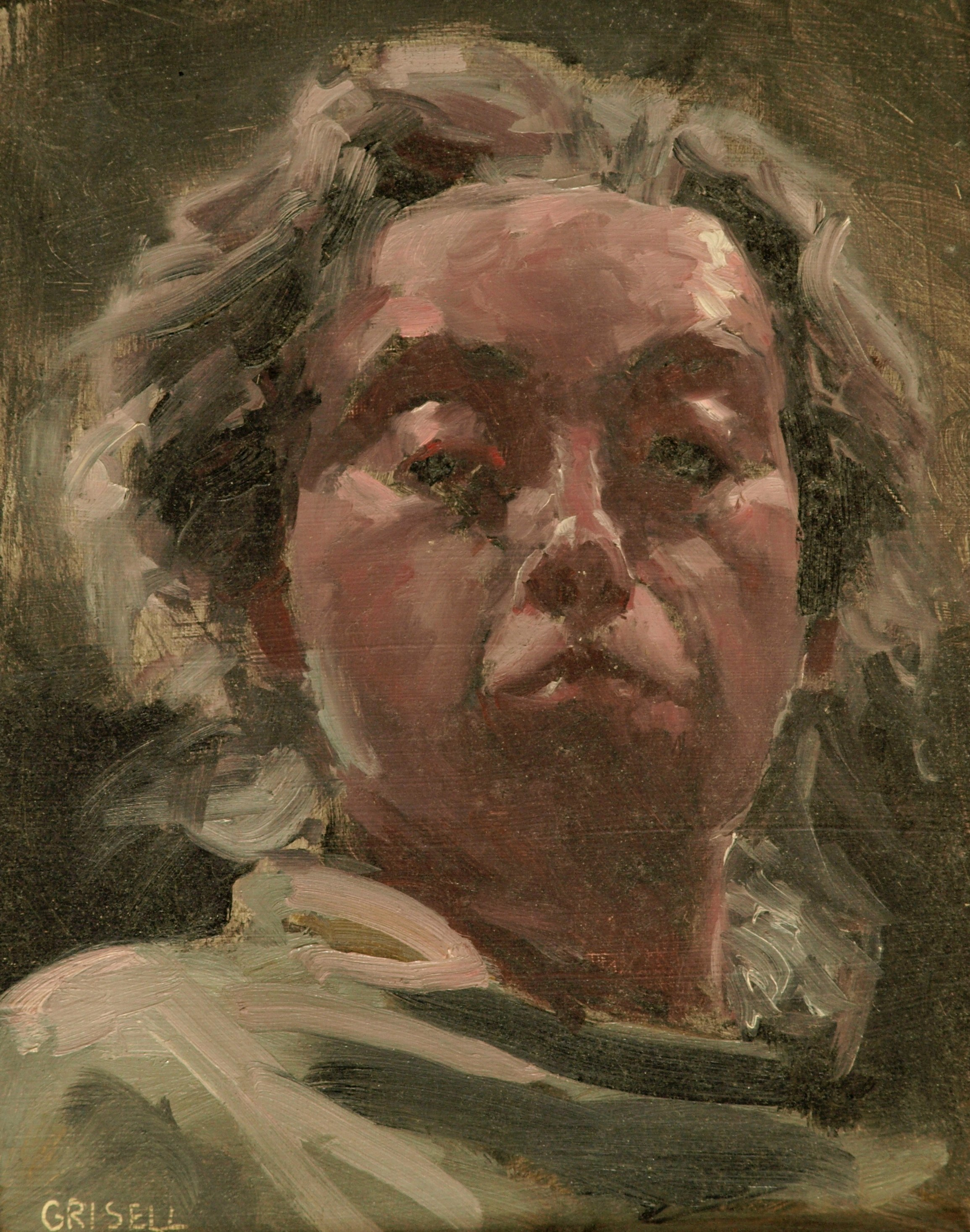 Self Portrait, Oil on Panel, 10 x 8 Inches, by Susan Grisell, $150