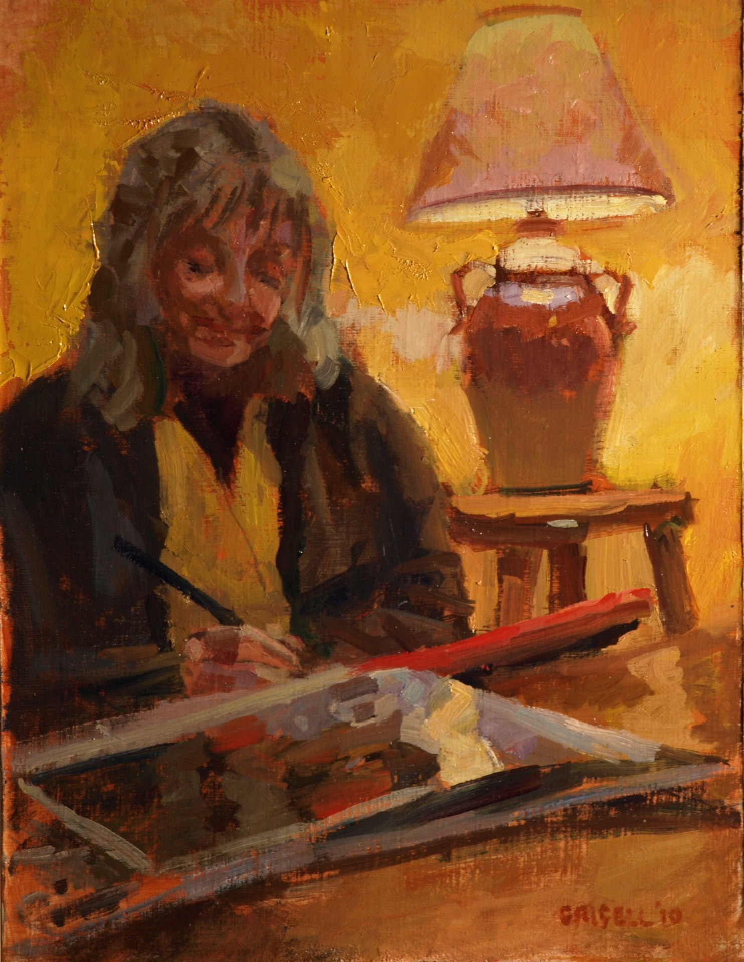 Sheila Sketching, Oil on Panel, 16 x 12 Inches, by Susan Grisell, $325