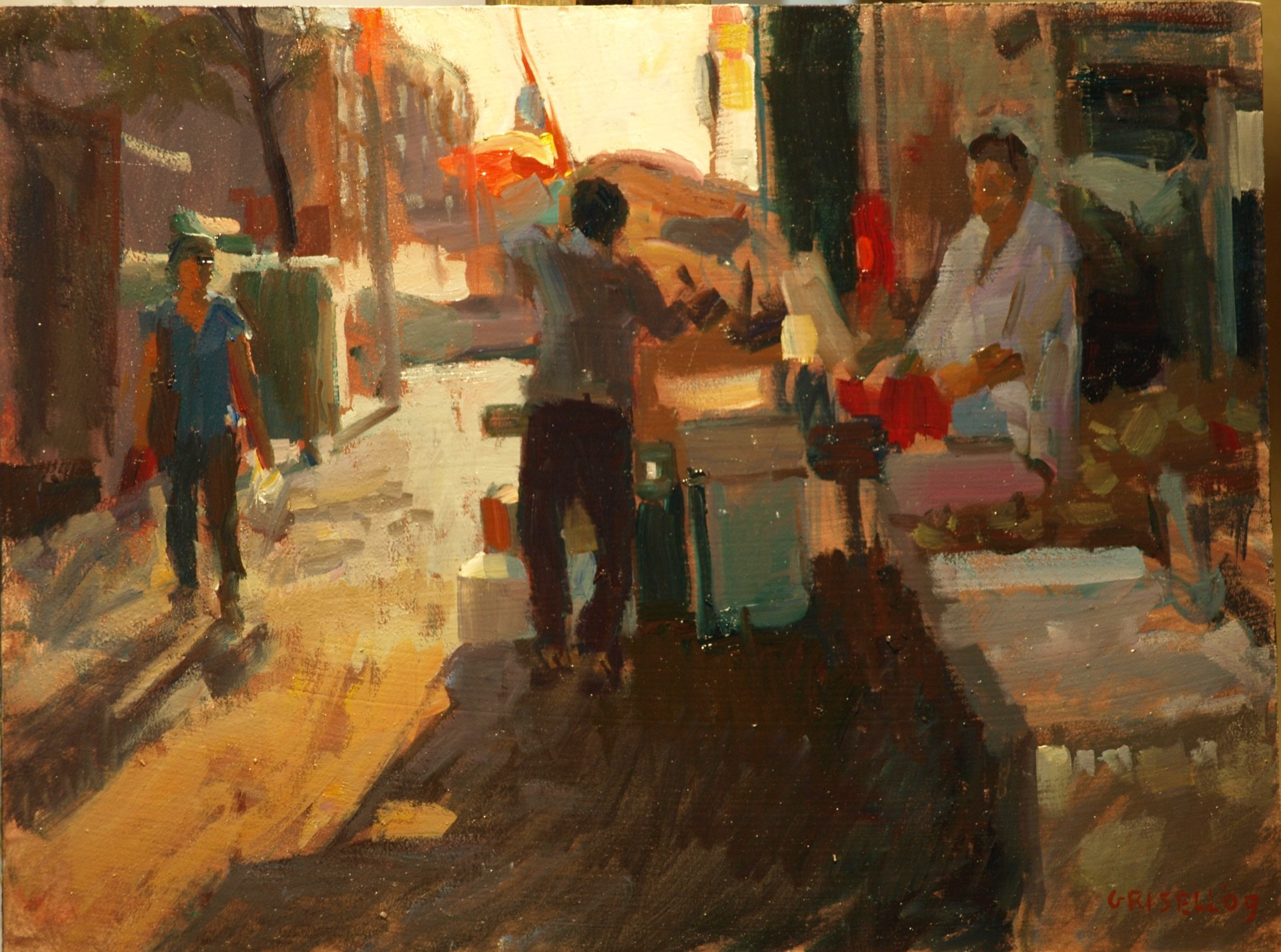 Sidestreet - Chinatown, Oil on Panel, 12 x 18 Inches, by Susan Grisell, $325