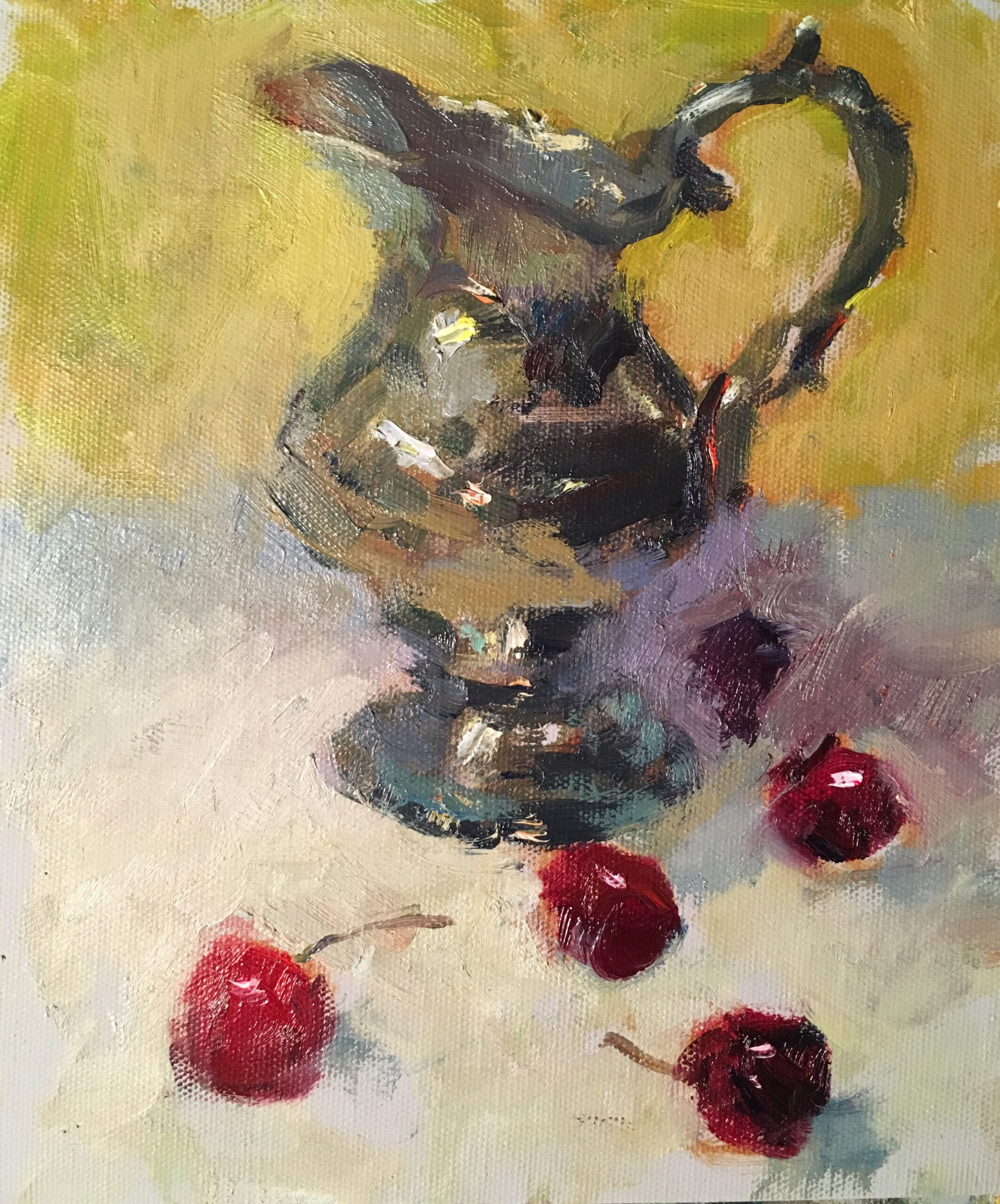 Silver Pitcher and Cherries, Oil on Canvas on Panel, 10 x 8 Inches, by Susan Grisell, $200