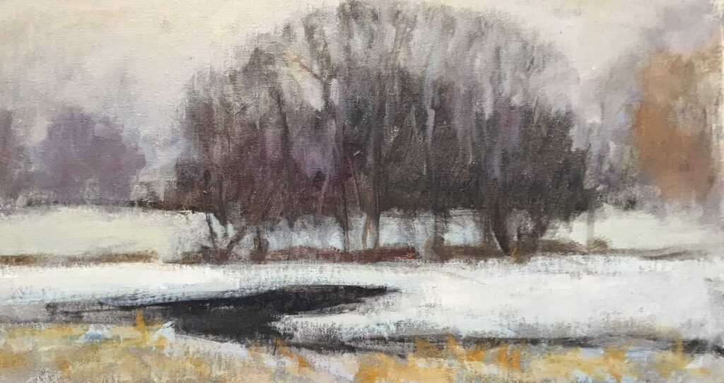 Snow Fog and Ice, Oil on Canvas on Panel, 9 x 16 Inches, by Susan Grisell, $250