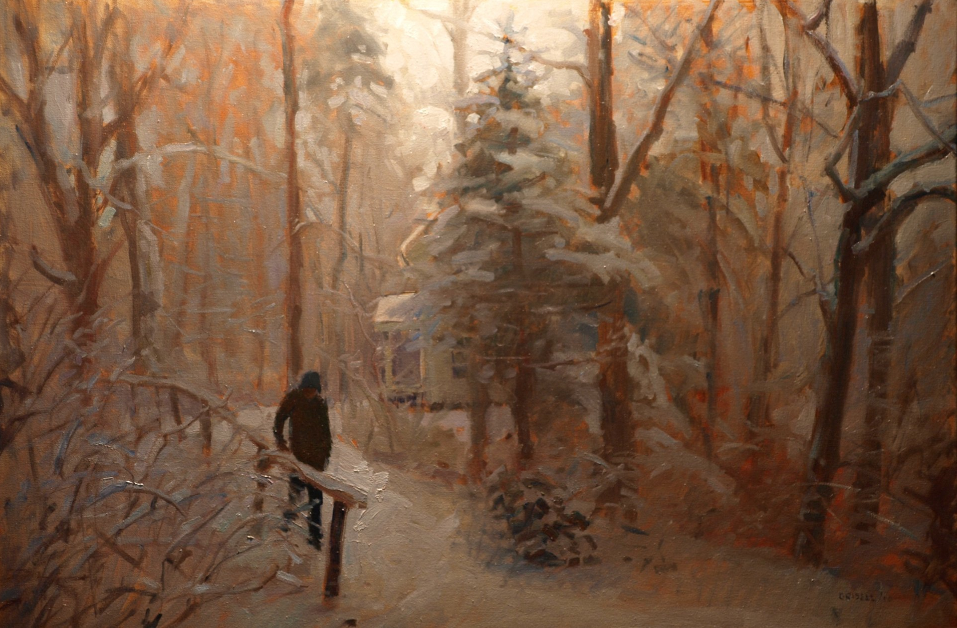 Snow and Path, Oil on Canvas, 24 x 36 Inches, by Susan Grisell, $1200