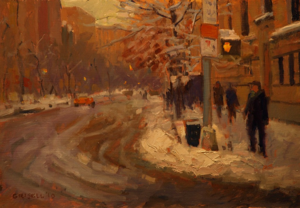 Snow and Slush, Oil on Panel, 12 x 18 Inches, by Susan Grisell, $325