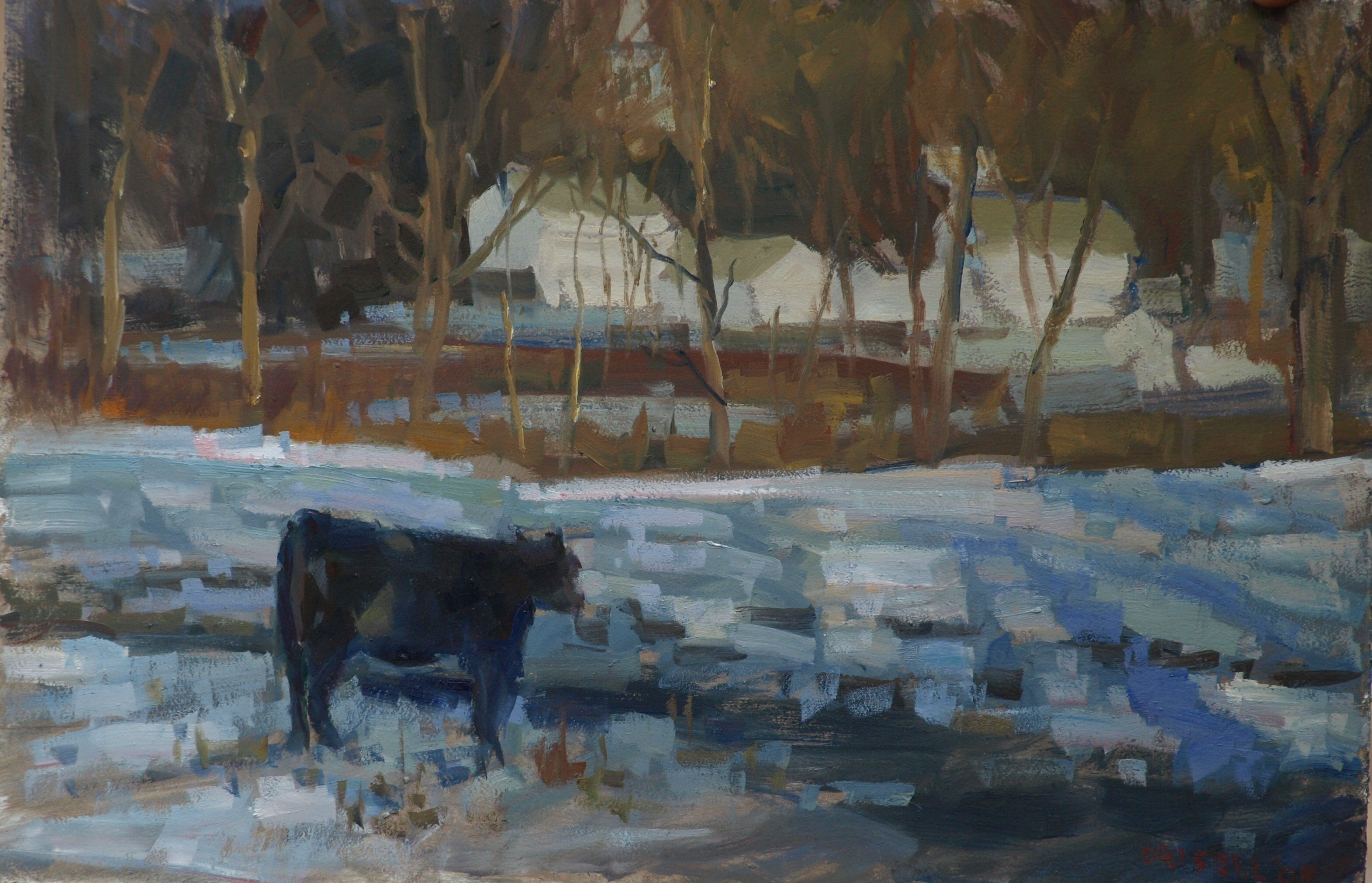 Snowy Pasture - Gaylordsville, Oil on Panel, 12 x 18 Inches, by Susan Grisell, $275