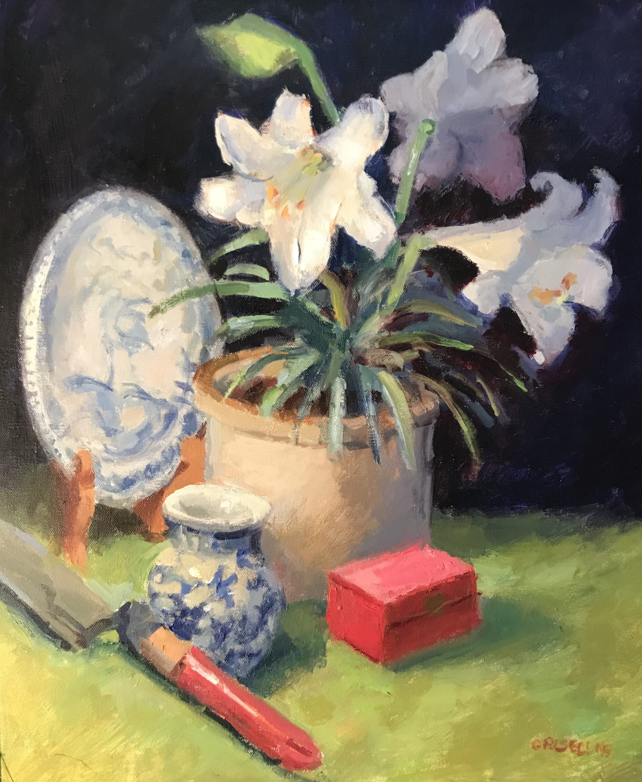 Still Life with Easter Lilies, Oil on Canvas, 24 x 20 Inches, by Susan Grisell, $750
