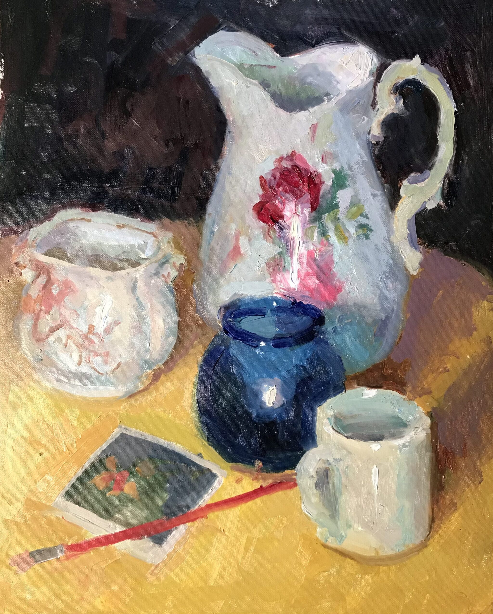 Still Life with Old Pitcher, Oil on Canvas, 20 x 16 Inches, by Susan Grisell, $750