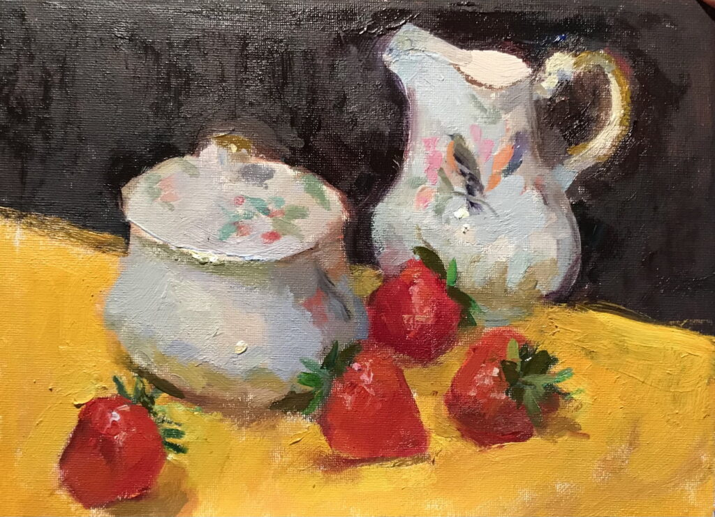 Strawberries and Cream, Oil on Canvas on Panel, 9 x 12 Inches, by Susan Grisell, $200