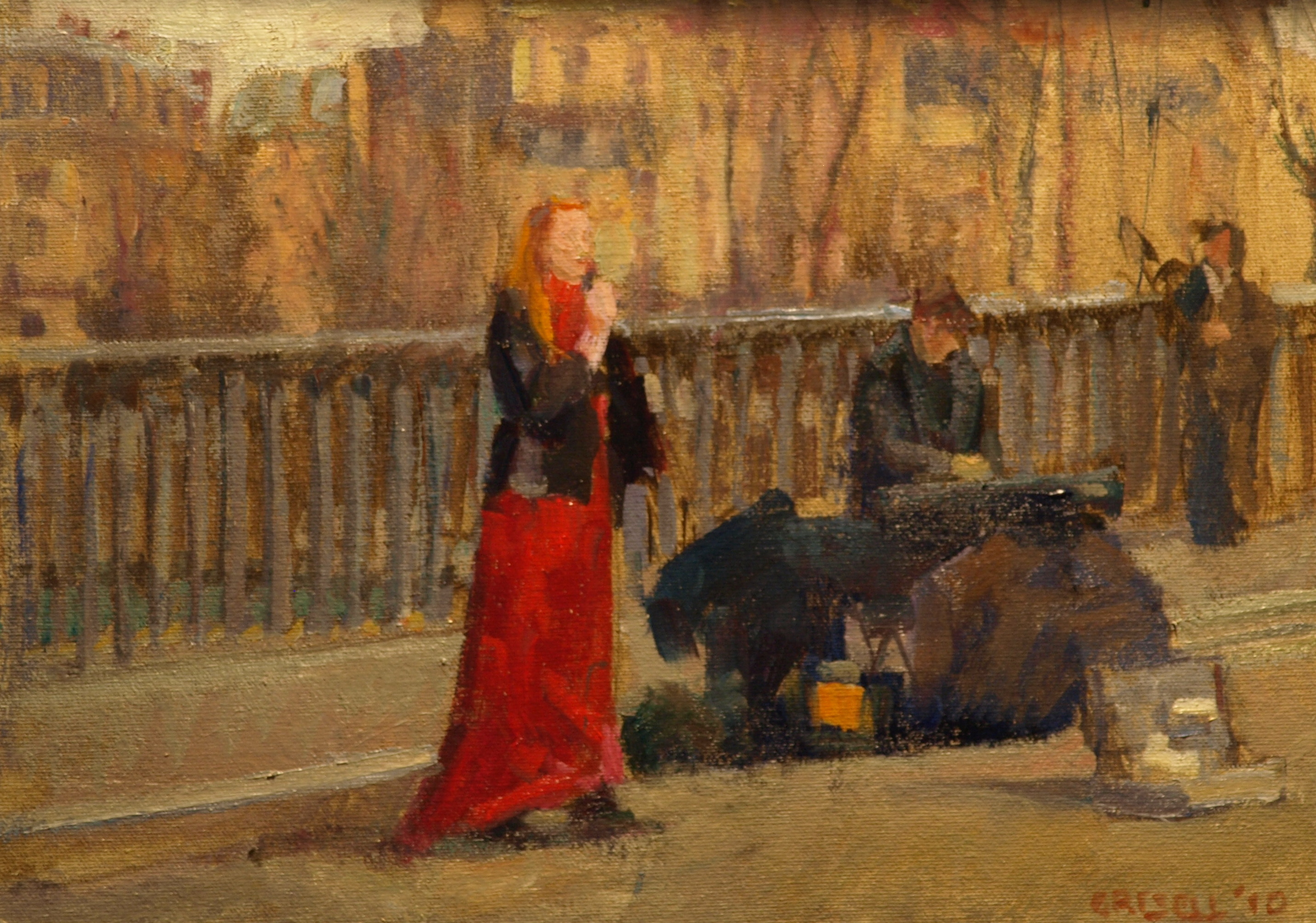 Street Musicians - Paris, Oil on Linen on Panel, 12 x 16 Inches, by Susan Grisell, $325