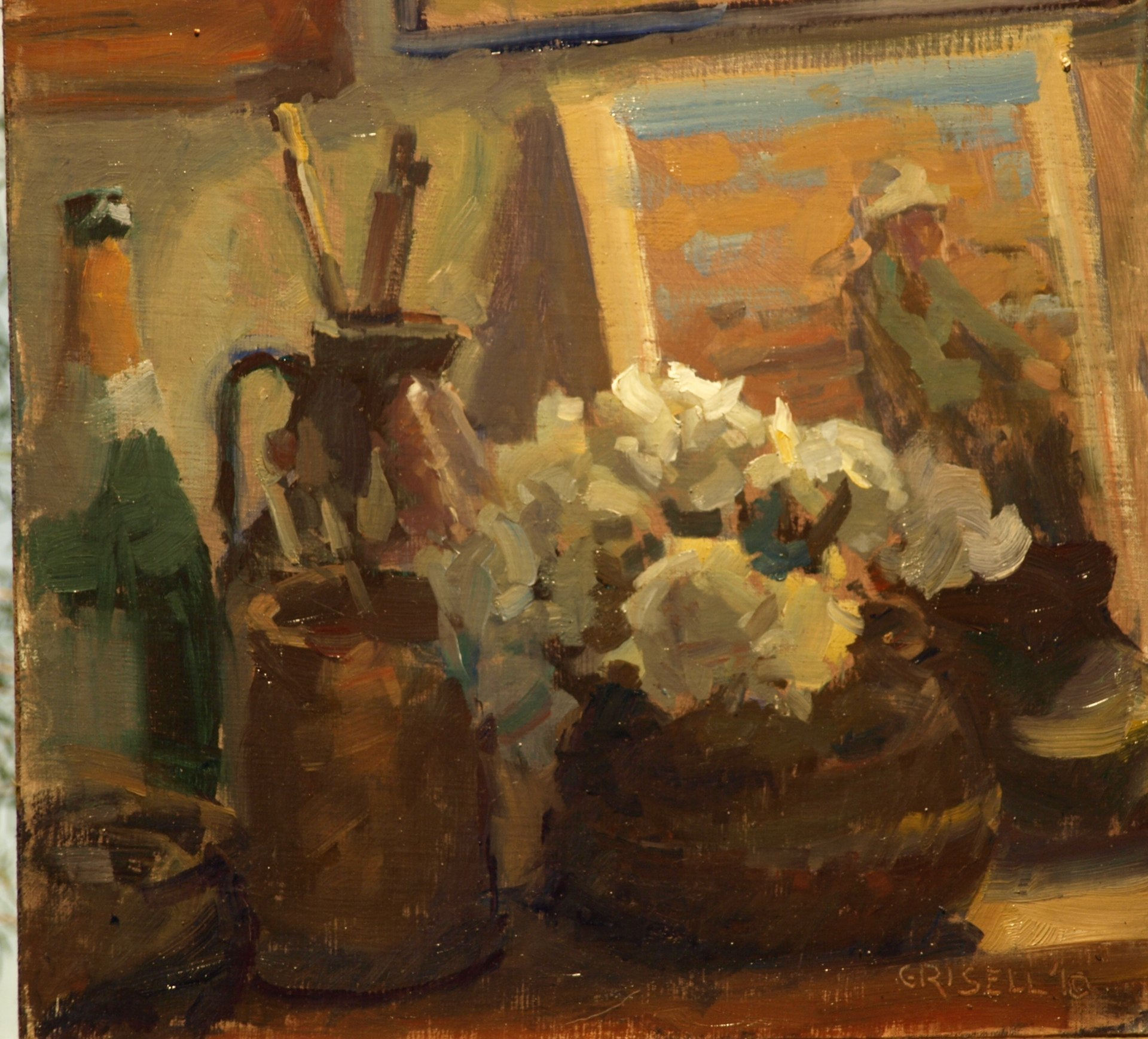 Studio Still Life, Oil on Panel, 12 x 12 Inches, by Susan Grisell, $275