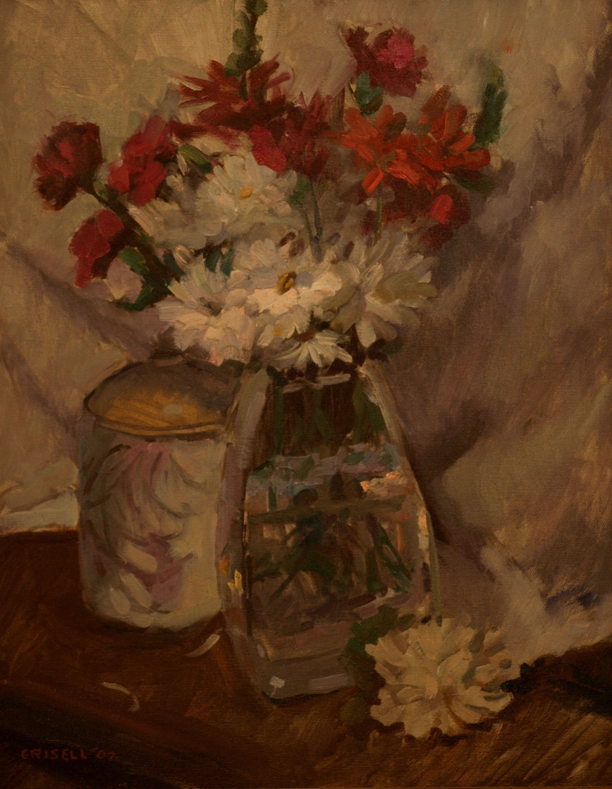 Study in Red and White, Oil on Canvas, 20 x 16 Inches, by Susan Grisell, $450