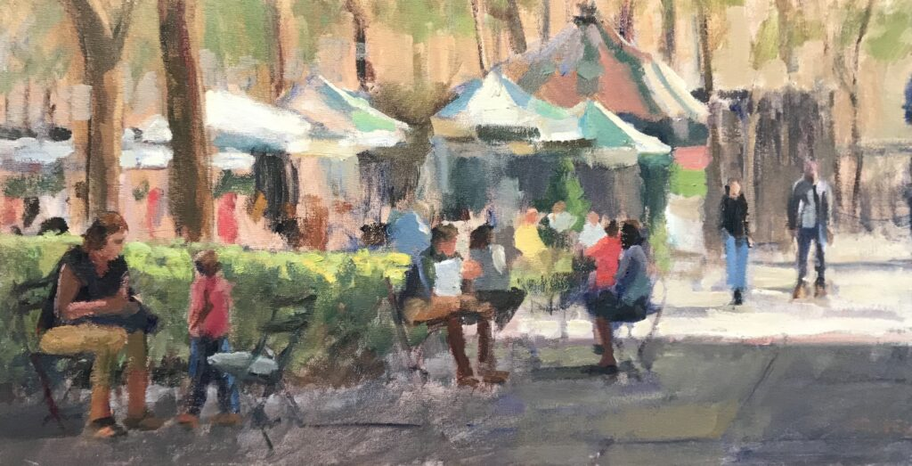 Summer in Bryant Park, Oil on Canvas on Panel, 12 x 24 Inches, by Susan Grisell, $550
