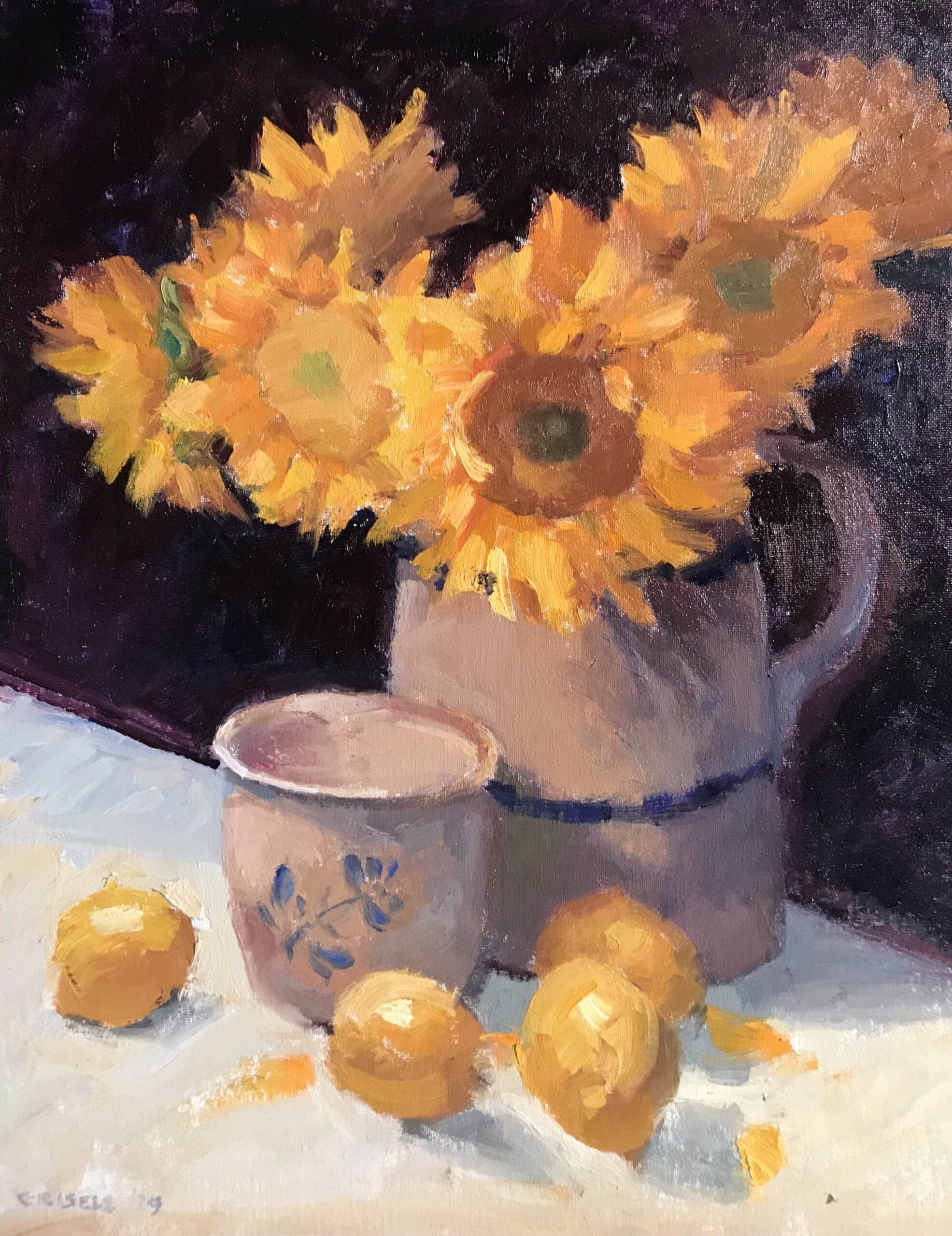 """""""Sunflowers, Lemons, and Crockery"""" Oil on Canvas on Panel, 20 x 16 Inches, $550 by Susan Grisell"""