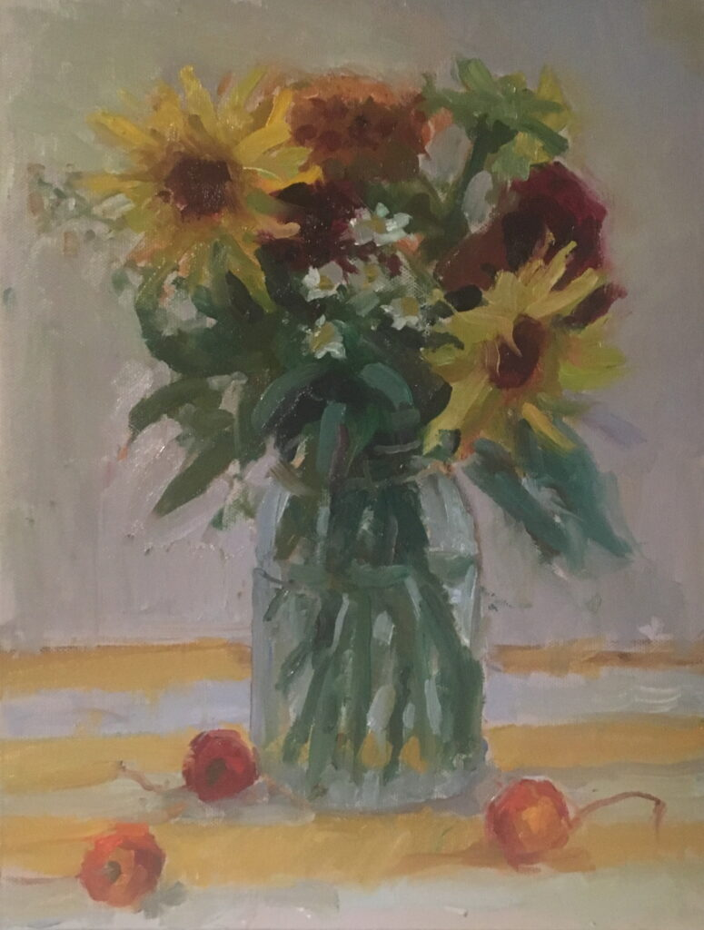 Sunflowers and Cherries, Oil on Canvas on Panel, 14 x 11 Inches, by Susan Grisell, $300