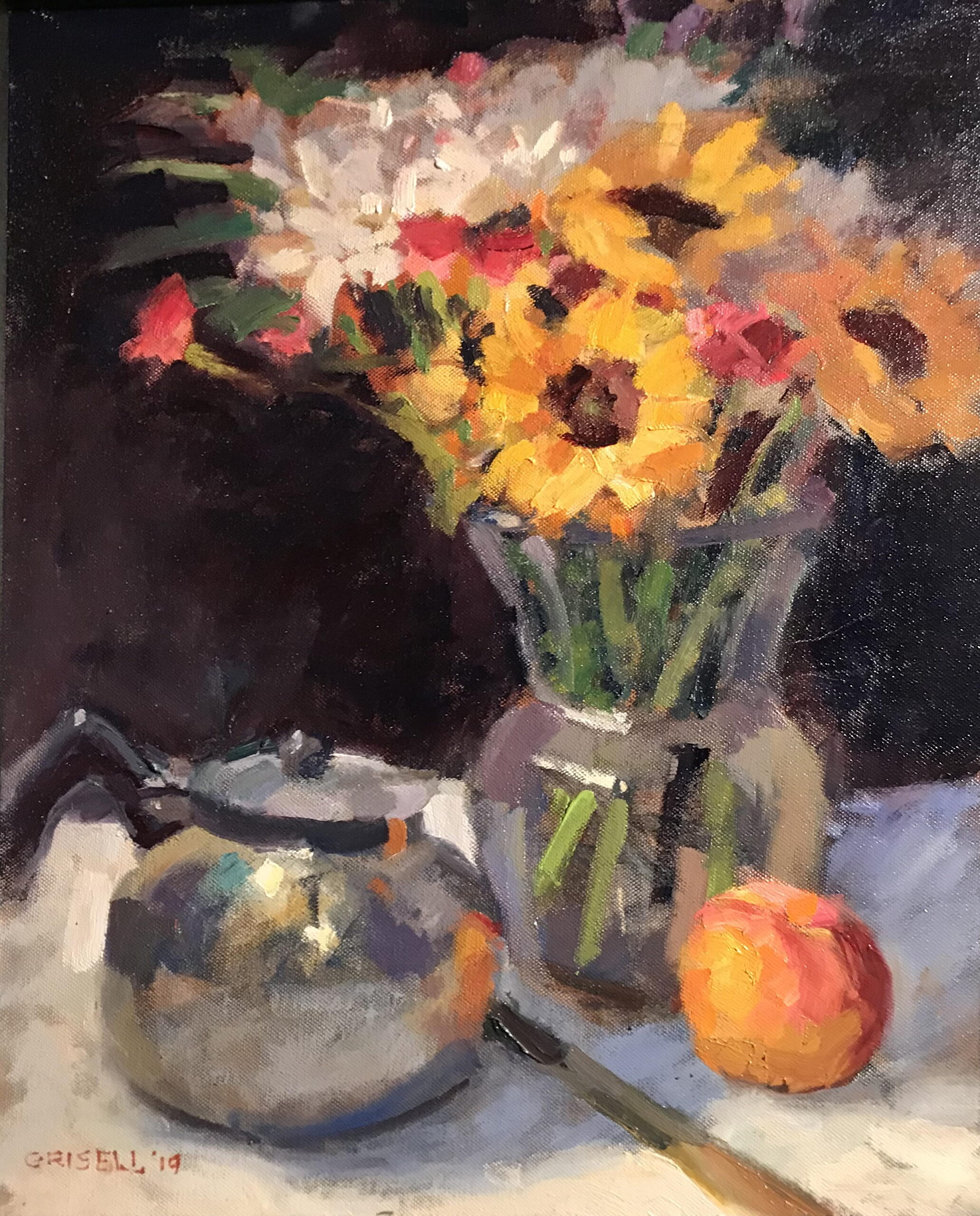 Sunflowers and Teapot, Oil on Canvas, 20 x 16 Inches, by Susan Grisell, $550