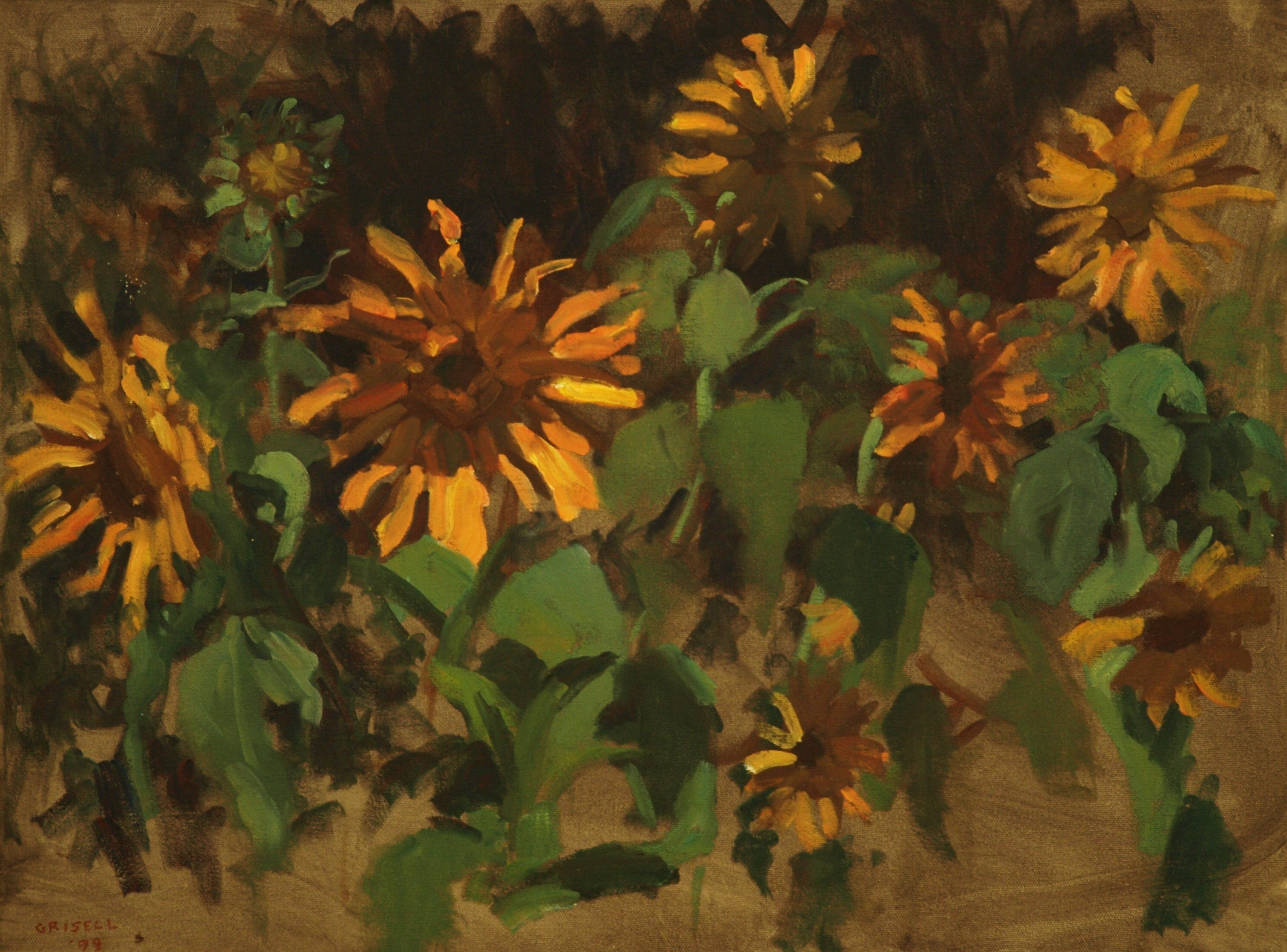 Sunflowers, Oil on Canvas, 18 x 24 Inches, by Susan Grisell, $650
