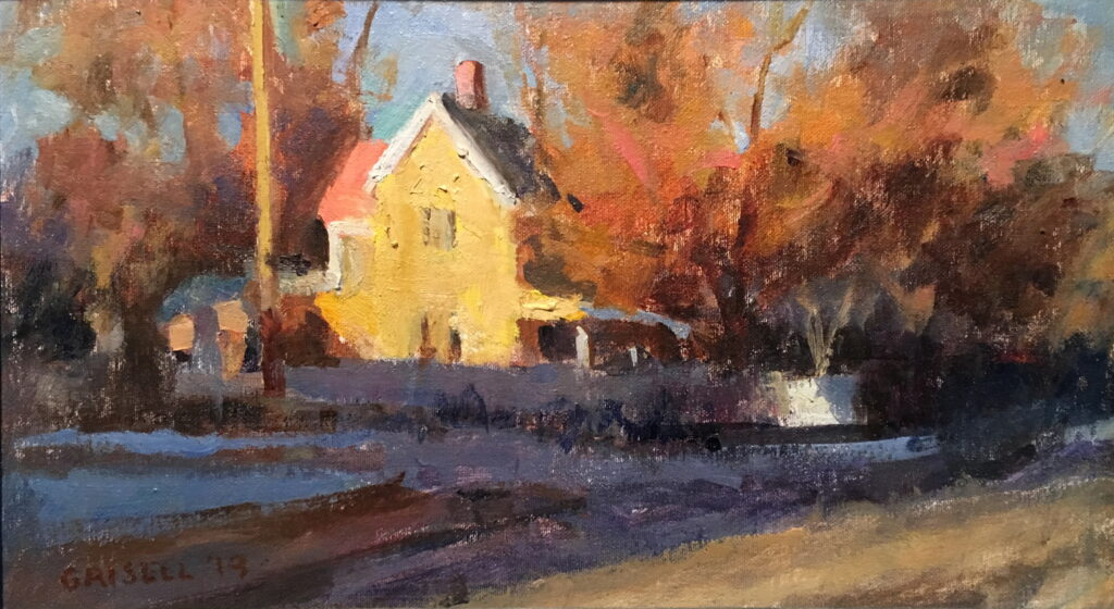 Sunlit House in Kent, Oil on Canvas on Panel, 9 x 16 Inches, by Susan Grisell, $325