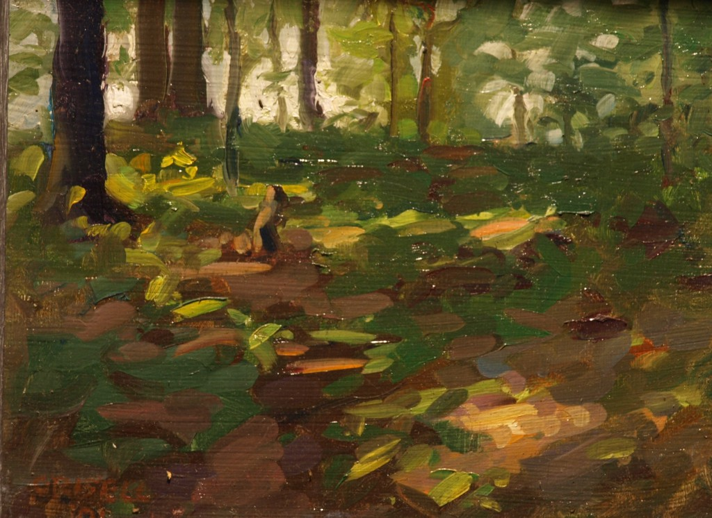 Sunlit Woods, Oil on Linen on Panel, 8 x 10 Inches, by Susan Grisell, $150