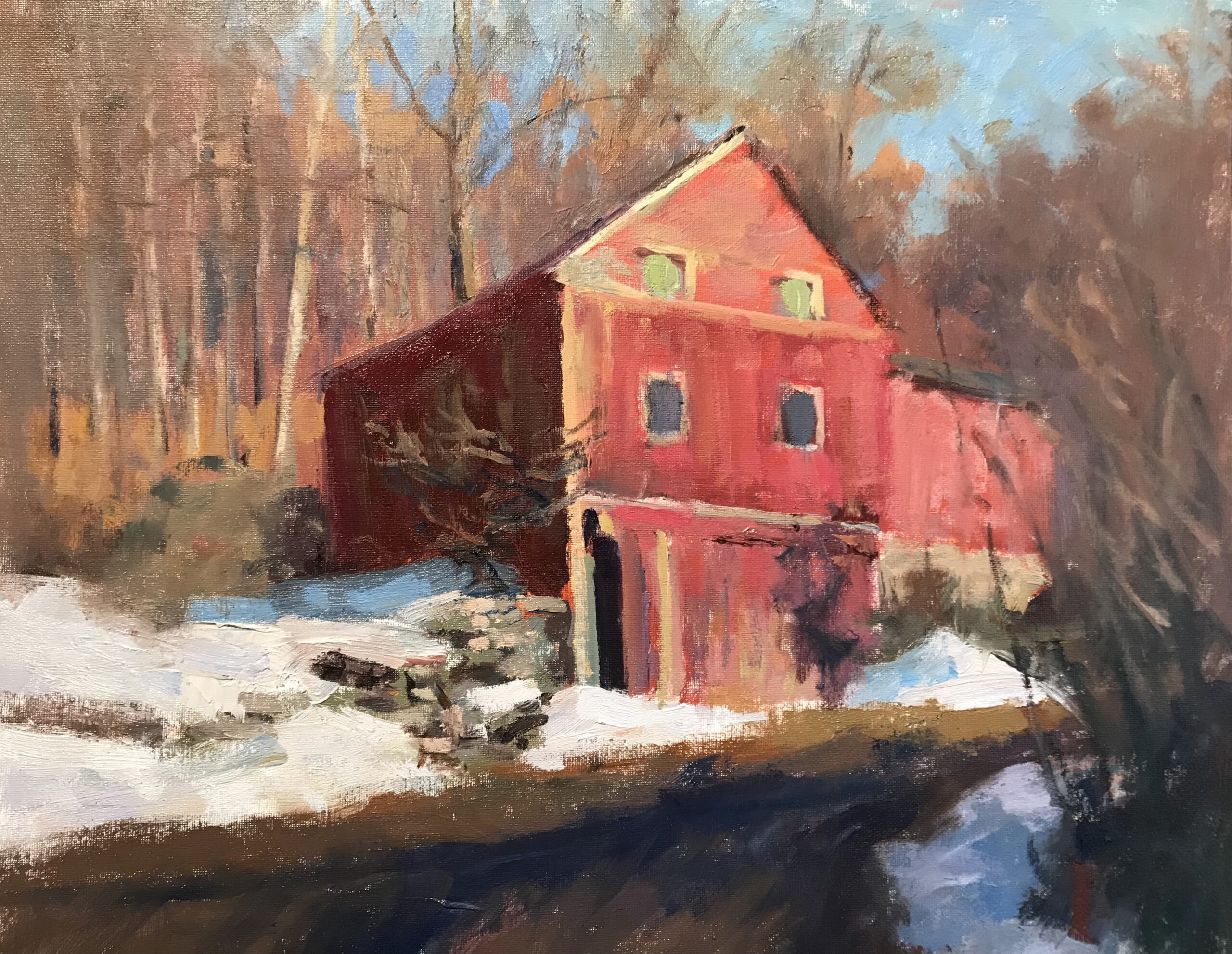 Susan's Barn, Oil on Canvas on Panel, 16 x 20 Inches, by Susan Grisell, $550