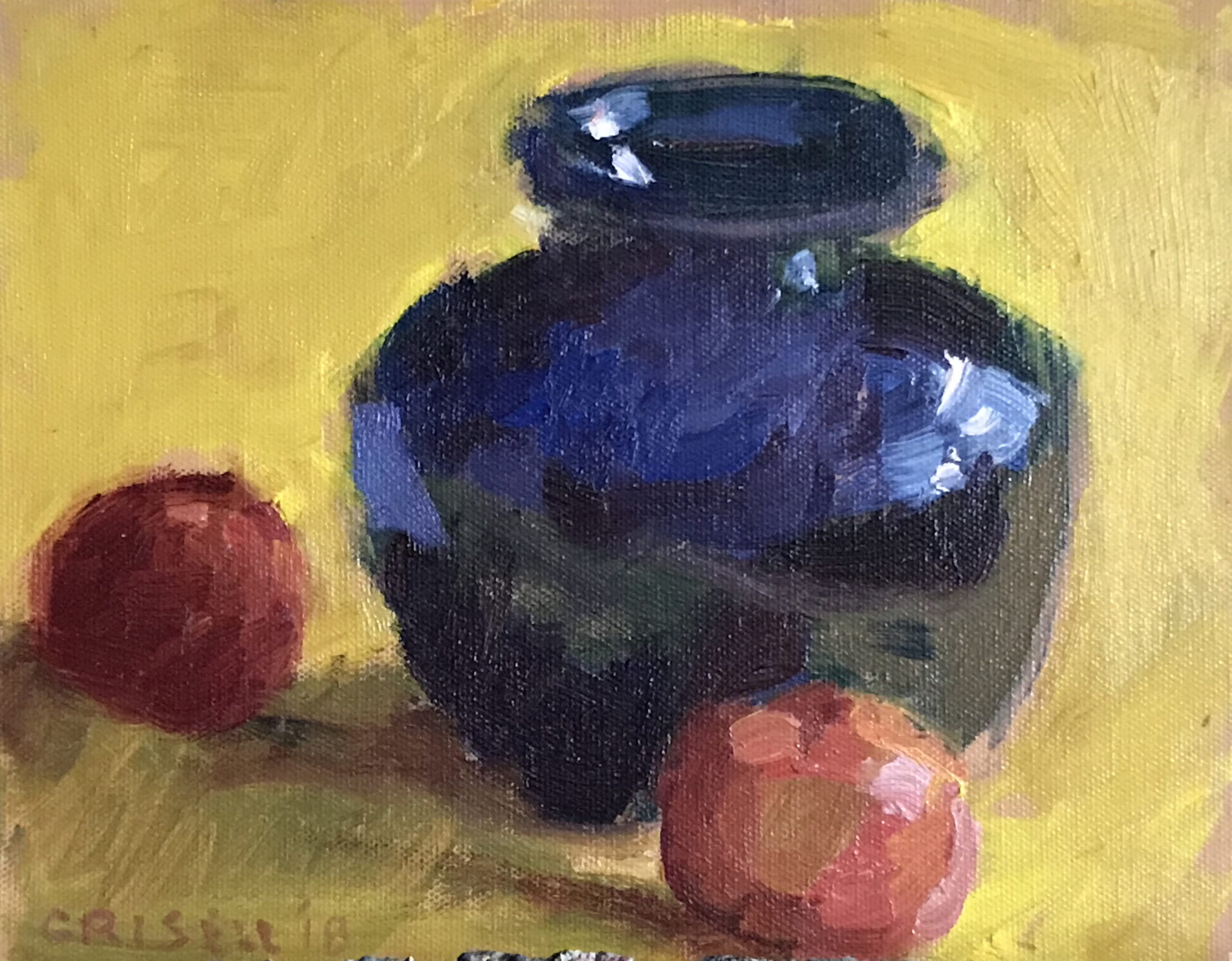 Tangerine and Cobalt Vase, Oil on Panel, 8 x 10 Inches, by Susan Grisell, $200