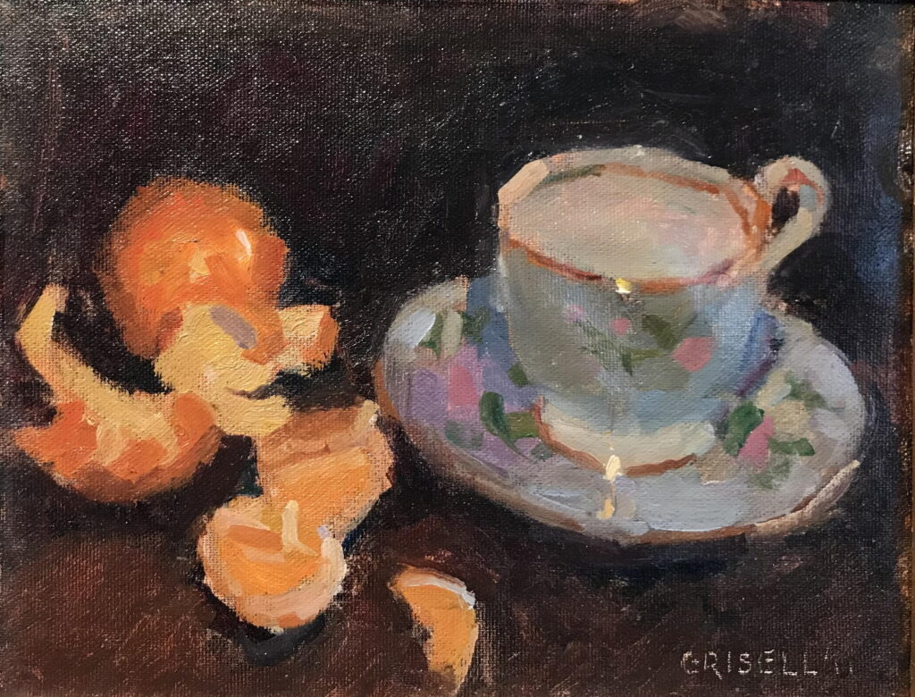 Teacup and Clementines, Oil on Canvas on Panel, 8 x 10 Inches, by Susan Grisell, $200