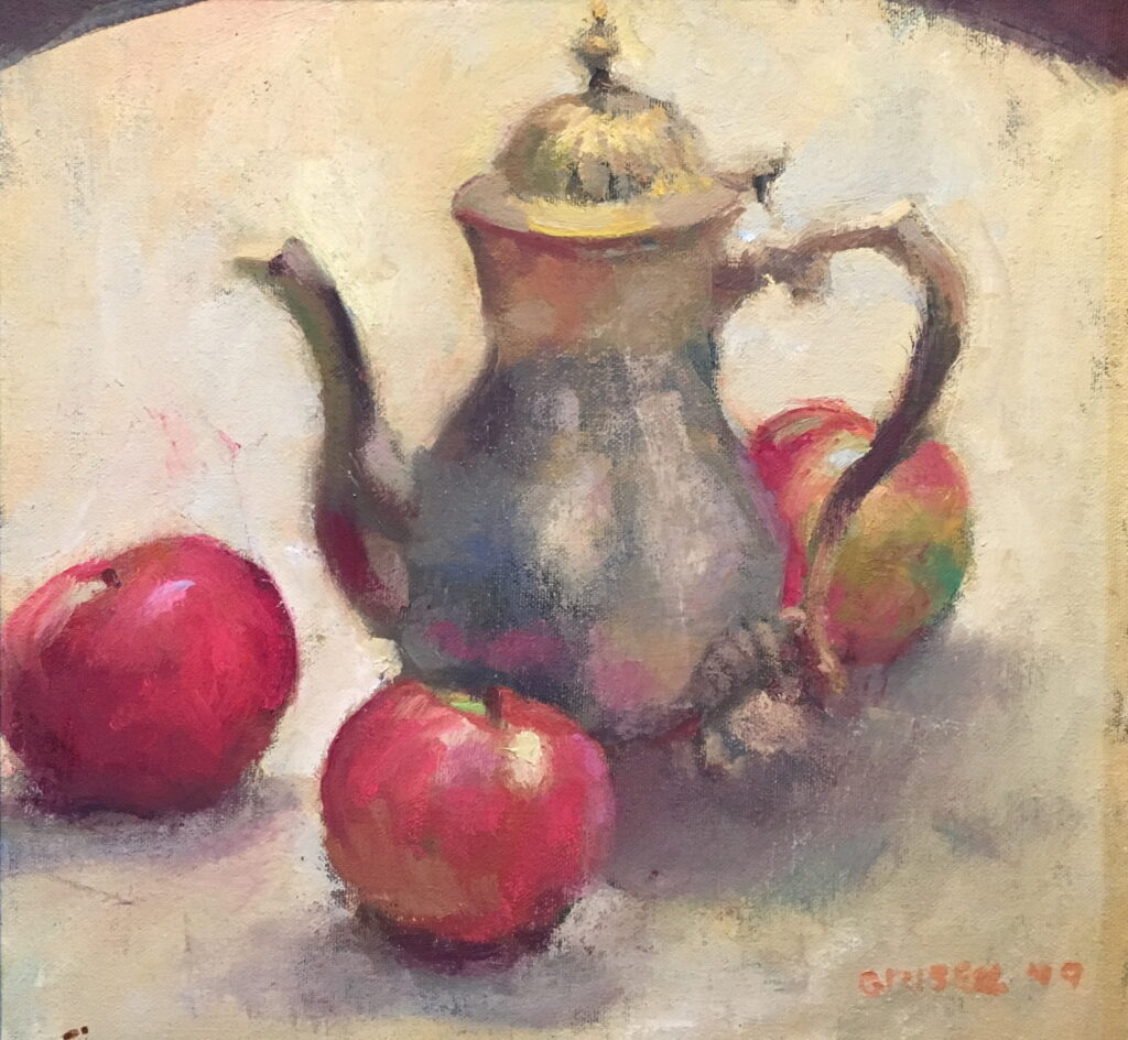 Teapot and Apples, Oil on Canvas on Panel, 12 x 12 Inches, by Susan Grisell, $325