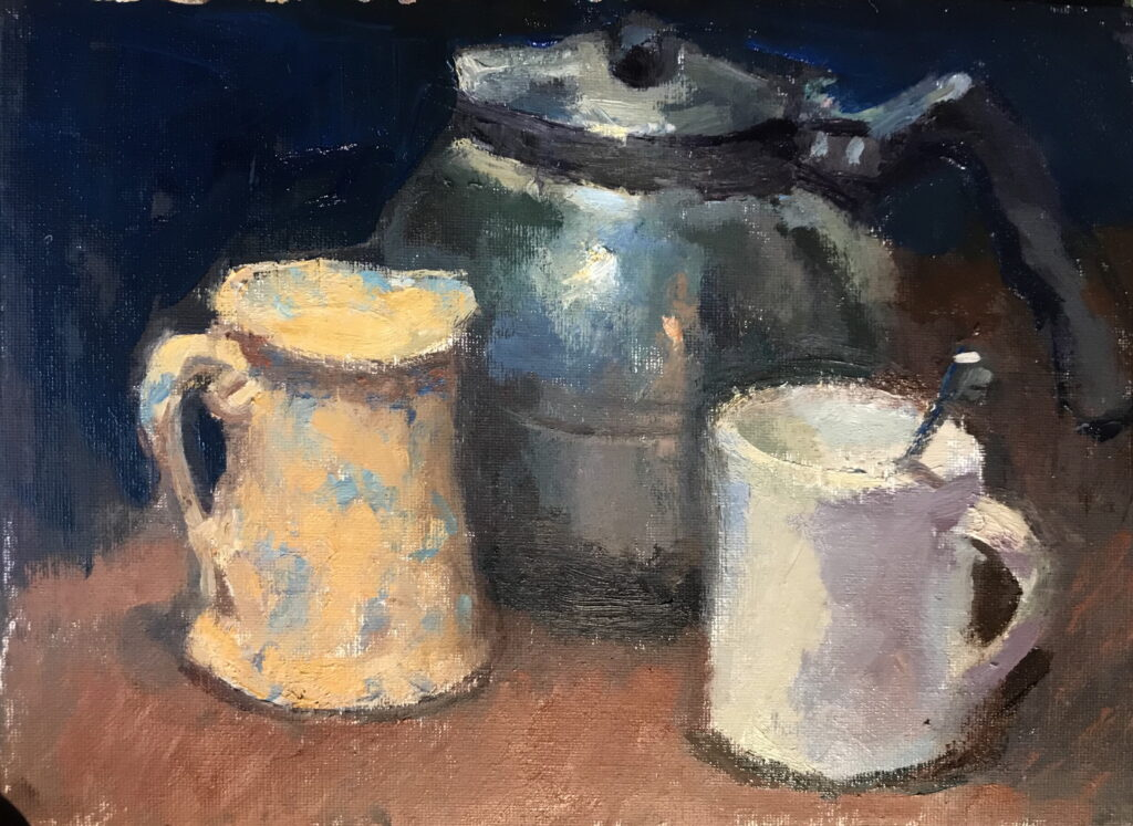 Teatime, Oil on Canvas on Panel, 9 x 12 Inches, by Susan Grisell, $200
