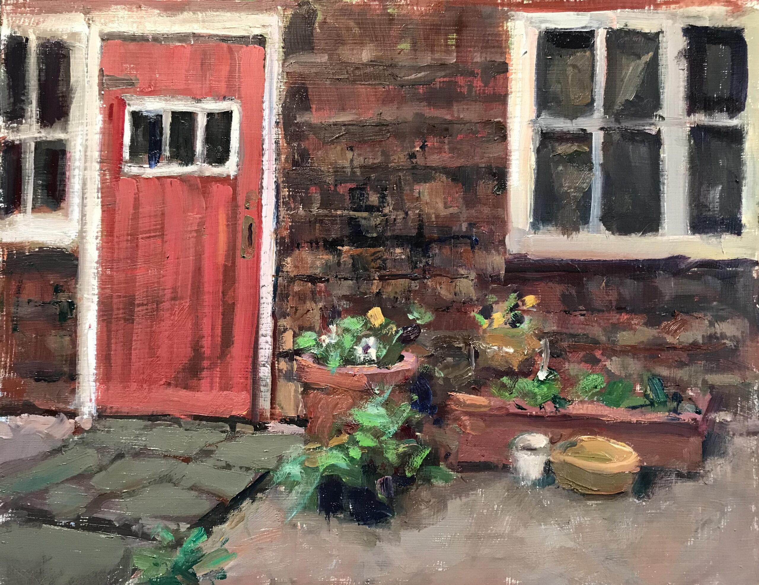The Red Door, Oil on Panel, 12 x 16 Inches, by Susan Grisell, $325