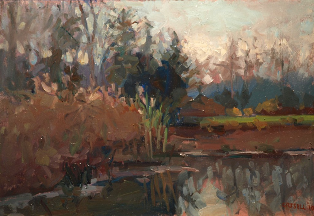 The Canal - Late Afternoon, Oil on Panel, 12 x 18 Inches, by Susan Grisell, $325