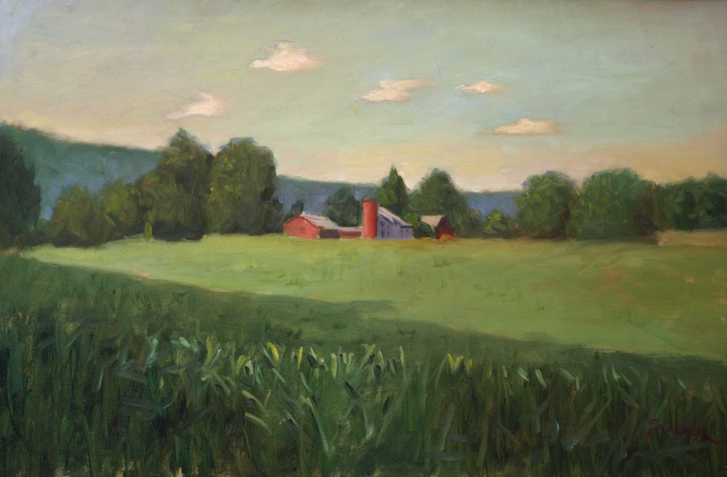 The Corn Field, Oil on Canvas, 20 x 36 Inches, by Richard Stalter, $1200