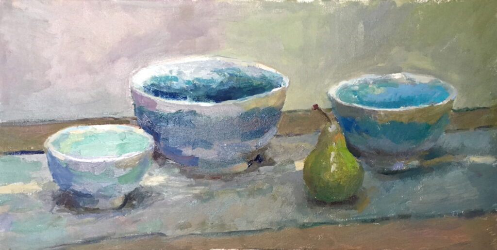 Three Bowls, Oil on Canvas, 12 x 24 Inches, by Susan Grisell, $650
