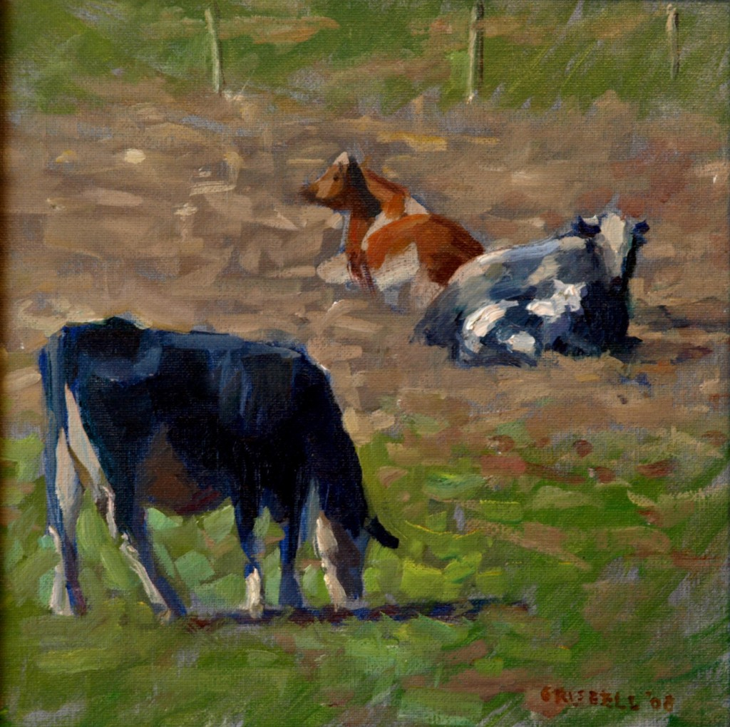 Three Cows, Oil on Panel, 12 x 12 Inches, by Susan Grisell, $250