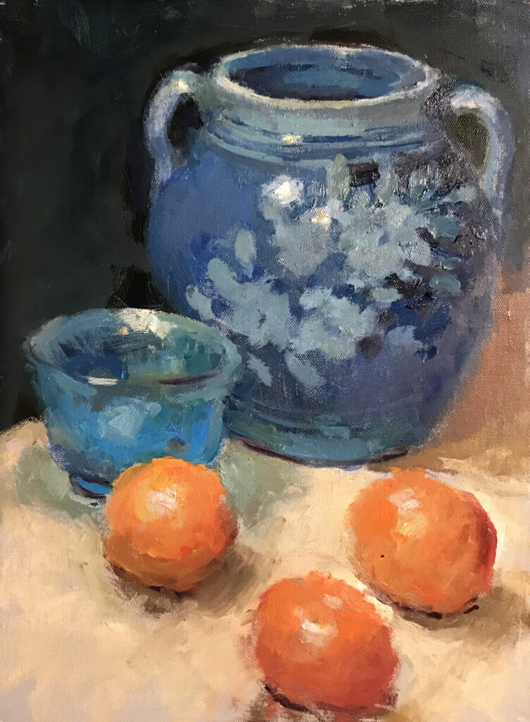 Three Oranges, Oil on Canvas on Panel, 16 x 12 Inches, by Susan Grisell, $325