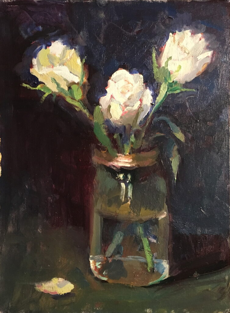 Three White Roses, Oil on Canvas on Panel, 16 x 12 Inches, by Susan Grisell, $325