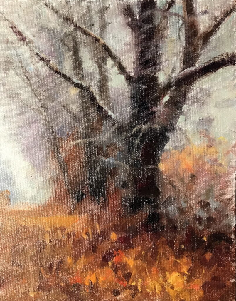 Trees and Fog, Oil on Canvas on Panel, 14 x 11 Inches, by Susan Grisell, $300