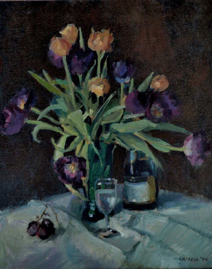 Tulips, Oil on Canvas, 20 x 16 Inches, by Susan Grisell, $450