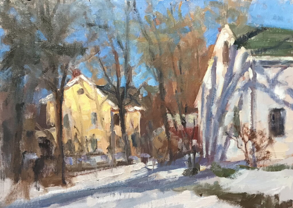 Two Houses in February, Oil on Panel, 12 x 16 Inches, by Susan Grisell, $325