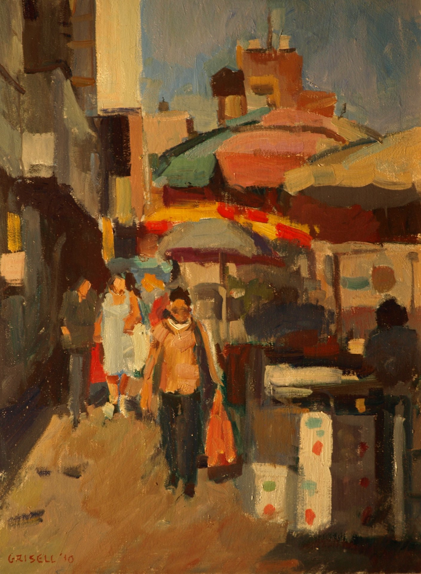 Vendors - Canal Street, Oil on Panel, 16 x 12 Inches, by Susan Grisell, $300